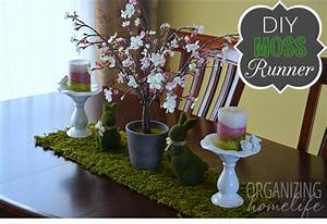 Spring Centerpiece with DIY Moss Table Runner - Organizing