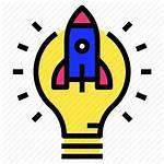 Innovation Rocket Startup Idea Icon Lightblub Start