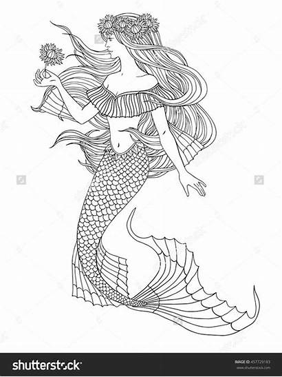 Mermaid Coloring Adult Pages Adults Mermaids Colouring