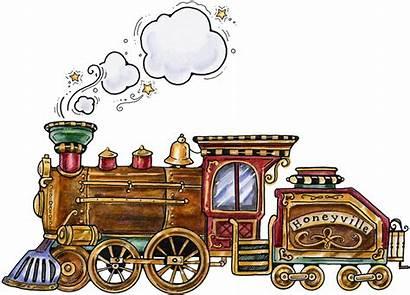 Train Clipart Christmas Steam Museum Folk Illustration