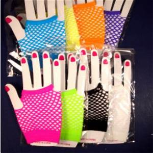 NEON FINGERLESS NET PUNK ROCKER ROCK 80 S THEME GLOVES