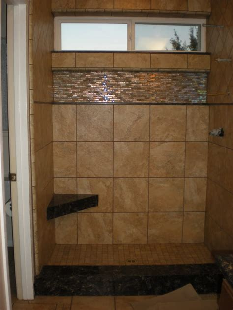 Shower Window Sill by Porcelain Tile Shower With Quartz Seat Curb Shelf And