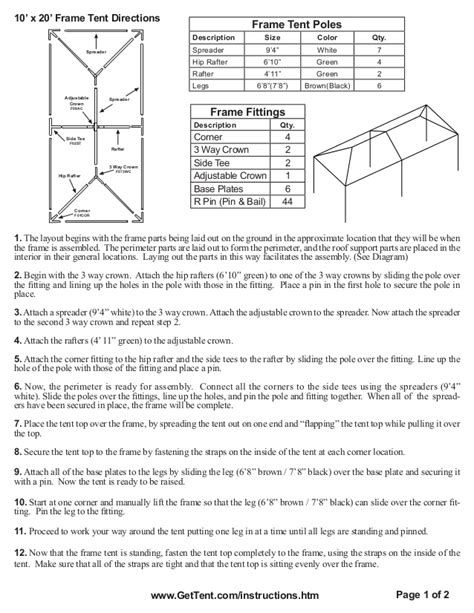 frame tent installation instructions