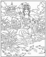 Coloring Geisha Adult Pond sketch template