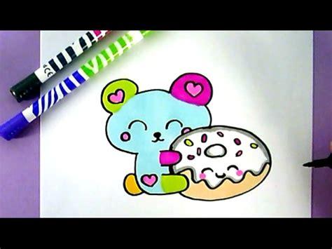 einen kawaii teddybaer mit einem donut selber malen youtube