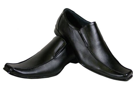 mens black leather men work loafers dress shoe wedding