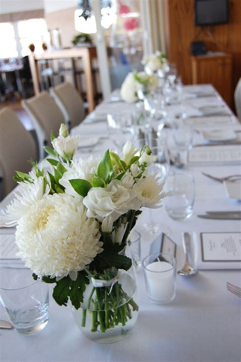 mixed white and green Wedding reception flowers