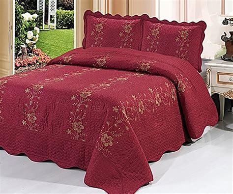 burgundy bedspread burgundy 3 piece quilted bedspread red burgundy quilt shams floral new ebay