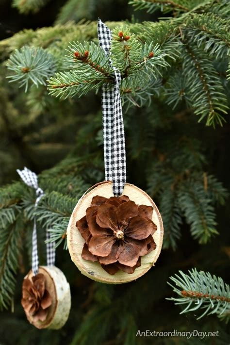 simple rustic birch  pine cone christmas