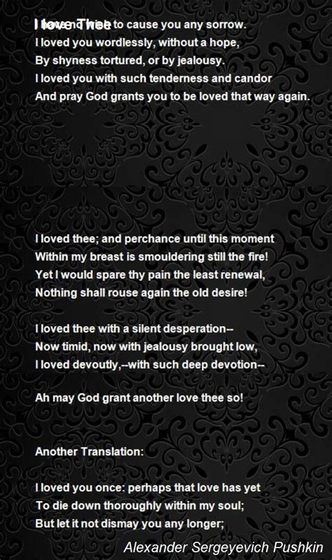 love thee poem  alexander sergeyevich pushkin poem