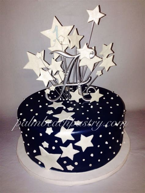 starburst galaxy star cake  midnight blue fondant