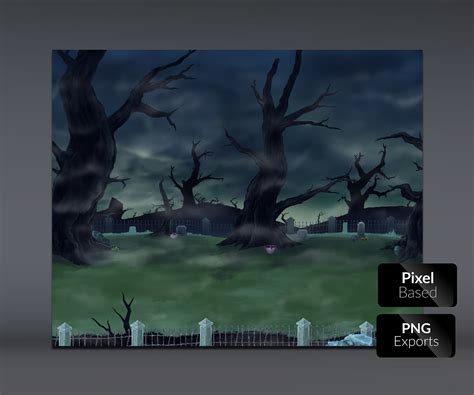 spooky cemetery handpainted game background game art