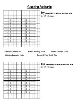 Graphing Battleship Game Ordered Pairs On A Coordinate Plane By Michelle Fries