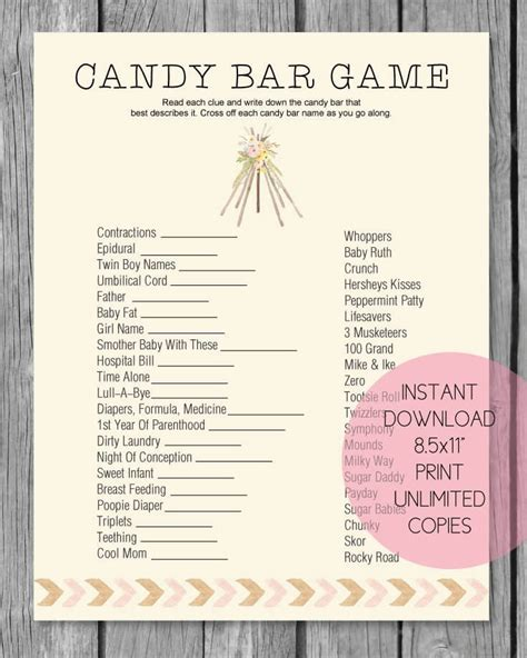 baby shower candy bar game boho teepee tribal theme