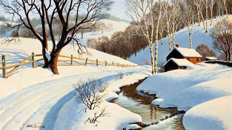 fonds decran la peinture de paysages dhiver ruisseau