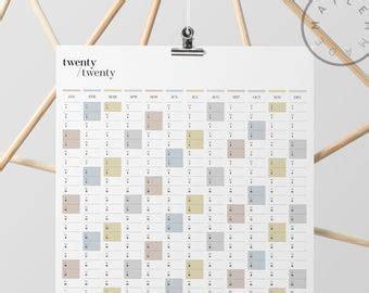 printable   portrait wall planner  full year etsy