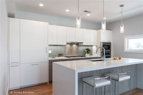 modern kitchen  matt white flat panel cabinets