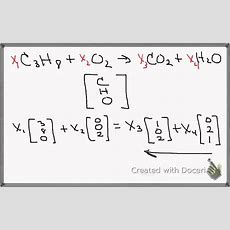 Balancing Chemical Equations With Linear Algebra Youtube