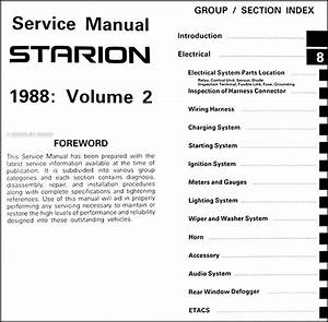 1988 Mitsubishi Starion Repair Shop Manual Original 2 Vol  Set