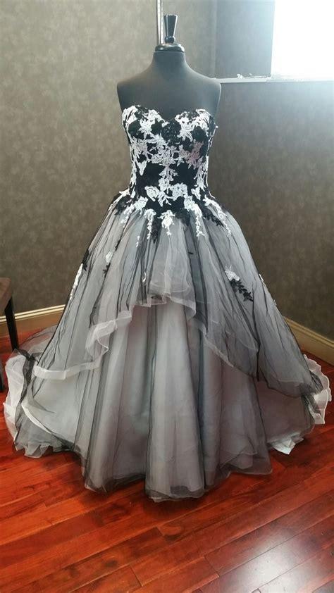 black  white wedding dress  tulle  lace