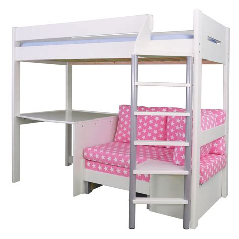 Mid Sleeper With Sofa Bed by Merlin High Sleeper White With Pink Sofa Bed