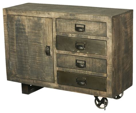 rustic accent cabinet modern rustic industrial rolling solid wood storage
