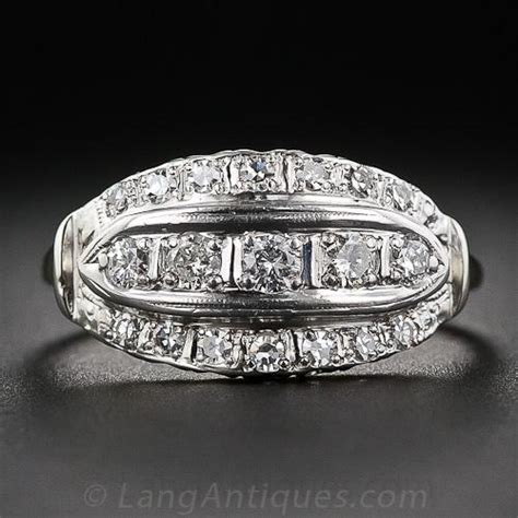 mid century vintage cigar band diamond ring
