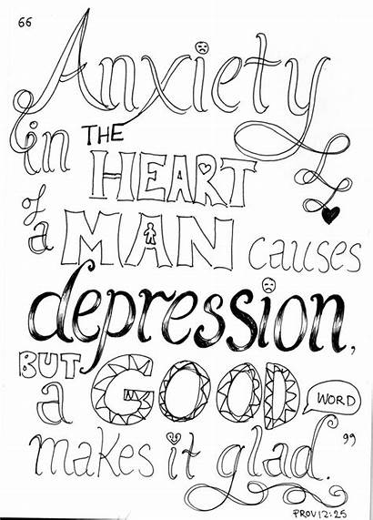 Coloring Bible Pages Verse Anxiety Quote Heart