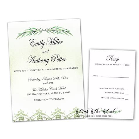 100 Wedding Invitations Greenery & RSVP Cards Wedding