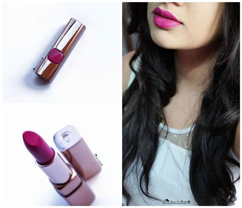 l oreal color riche moist matte lipstick glamor fuchsia review swatches bows makeup
