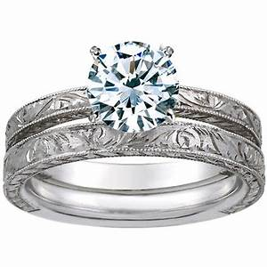 18k white gold hand engraved laurel matched set from With western engraved wedding rings