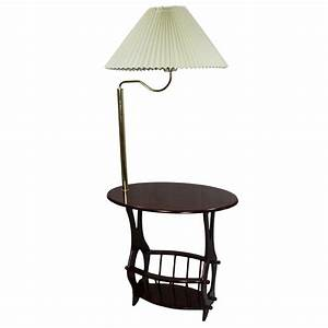 Ore furniture floor lamp end table magazine rack for Floor lamp behind side table