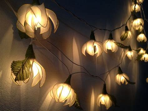 20 white tone ylang ylang flower string lights
