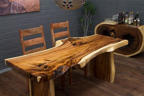 extravaganter baumstamm esstisch aus suar massivholz nr 16075