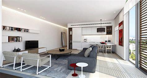 salon et cuisine dans la meme pièce de vie moderne dans un petit appartement de ville