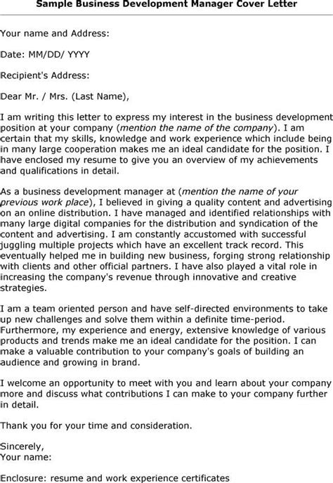 sample application letter  business development manager