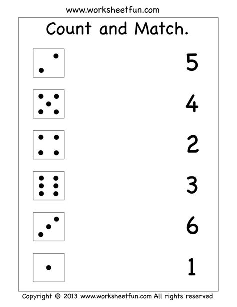 count and match worksheet homeschooling math misc