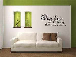 wall decal quote family where life begins vinyl wall decal With vinyl wall decals