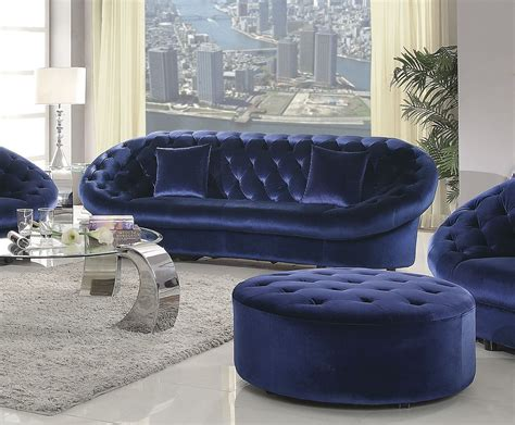 romanus royal blue velvet sofa 511042 coaster furniture