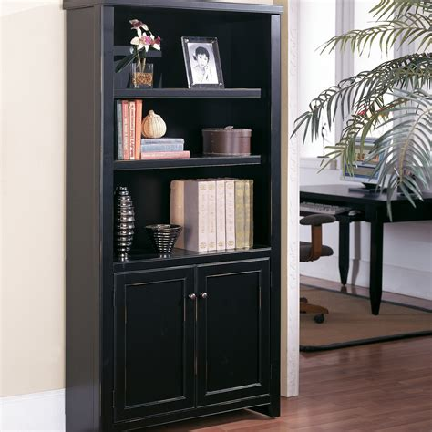 black bookcase with doors kathy ireland home by martin tribeca loft bookcase with