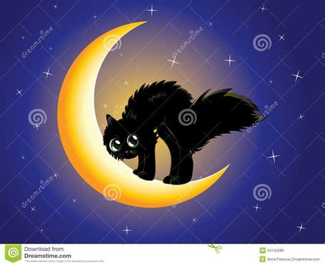 Black Cat On Moon Stock Illustration. Illustration Of