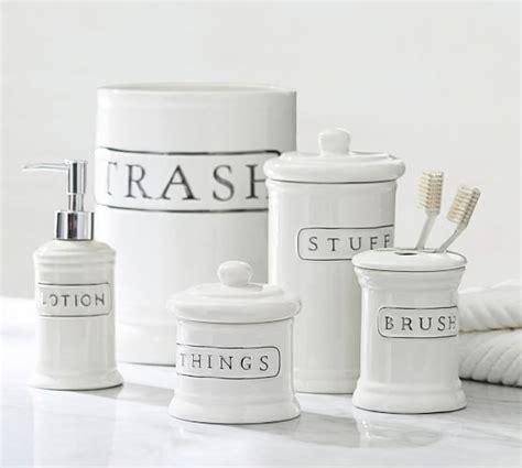 pottery barn kitchen accessories ceramic text bath accessories pottery barn 7566