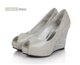 leatherette crystral peep toes wedge heel black wedding shoes 2012 flowerweddingshoes - Wedge Heel Wedding Shoes