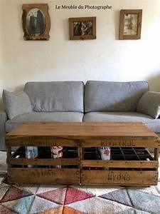 Table Basse Caisse Bois : table basse banc caisses en bois le meuble du photographe ~ Nature-et-papiers.com Idées de Décoration
