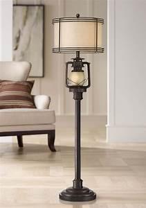 Barnes, And, Ivy, Rustic, Industrial, Floor, Lamp, With, Nightlight, Glass, Bronze, Earthy, Fabric, Drum