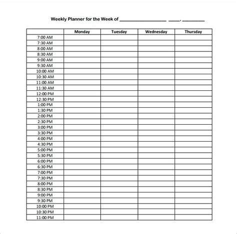 hourly calendar template excel weekly schedule