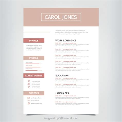 simple professional resume template vector free