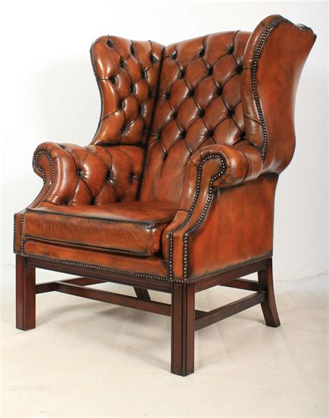 Pair Of Large Leather Wing Chairs  Antiques Atlas