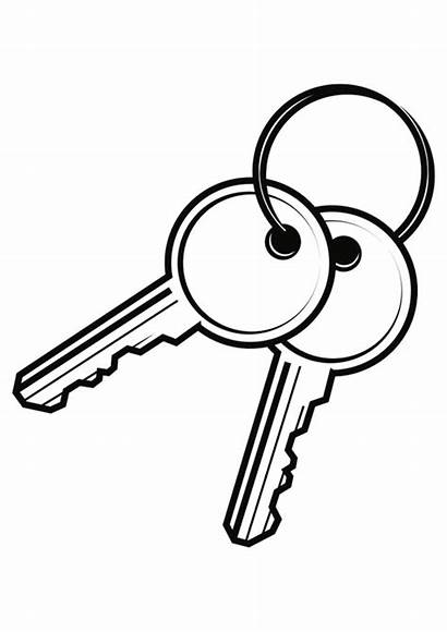 Key Clipart Keys Coloring Drawing Line Pages