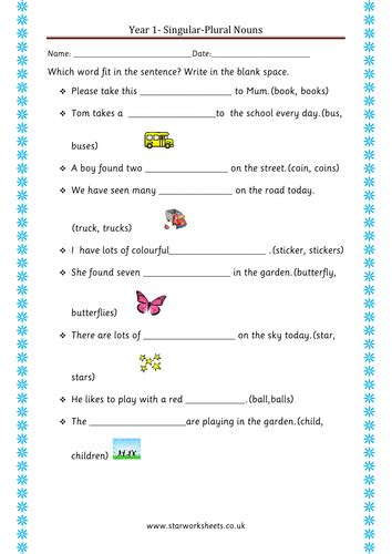 noun worksheets year 1 year 1 plural nouns worksheet by blueeyed7 teaching resources